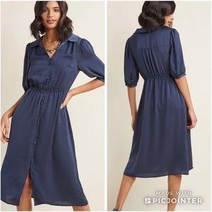Modcloth Crinkle Satin Midi Dress sz XL